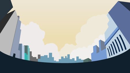 Cityscape on ground low angle view design vector illustration.Buidings design in city with clouds and sky background.Urban landscape