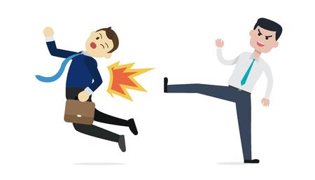 Manager Homme d'affaires expulser un employé illustration vectorielle. Sortez du concept d'homme d'affaires. Situation de trahison d'affaires.