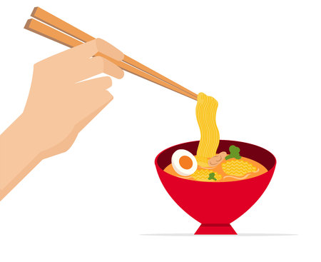 Hand hold chopsticks with delicious noodle in red bowl.Vector illustration.Tasty noodle wit soup.Asia traditional meal.Ramen with bowl
