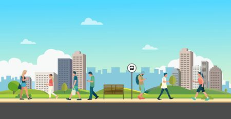 People with public park in city. Beautiful scene park and man walking. People leisure activities in park. Lifestyle relaxed in town vector illustration