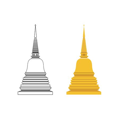 Golden pagoda and outline flat vector with isolated white background. Buddhist building symbol