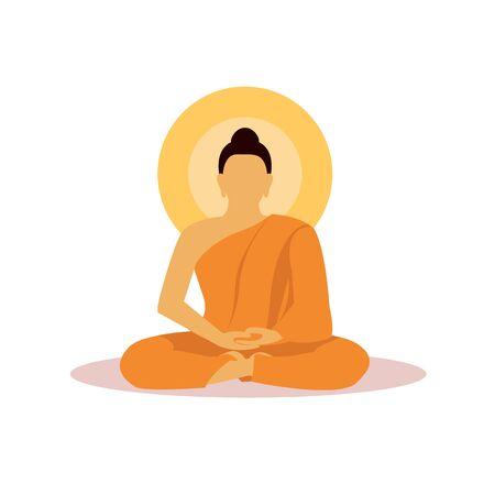 Buddhist monk in meditation in flat design vector.