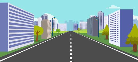 Perspective town with nature background vector illustration. Street with buildings, trees, clouds and sky. Beautiful city scene. Stock Illustratie