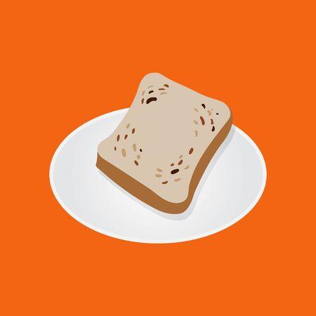 Slice Bread on dish vector. Slice of wheat bread Standard-Bild - 128946551