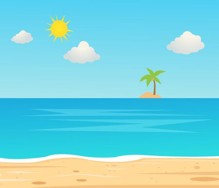 Beach Travel Holiday Vacation. Beautiful seascape and sky background. Travel concept. Coast tropical nature scene