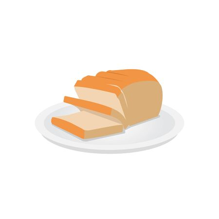 Slice Bread on dish flat vector design. White sandwich bread.Sliced bread loaf on plate  イラスト・ベクター素材
