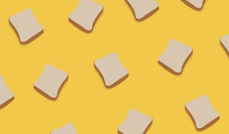 Slice Bread Pattern on yellow background vector. Slice of wheat bread design pattern modern art  イラスト・ベクター素材