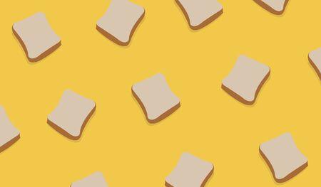 Slice Bread Pattern on yellow background vector. Slice of wheat bread design pattern modern art Ilustracja