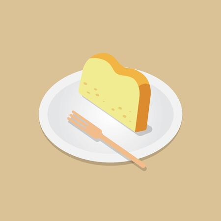 Sliced  butter cake with wooden fork on dish vector. Bakery meal concept. pound cake