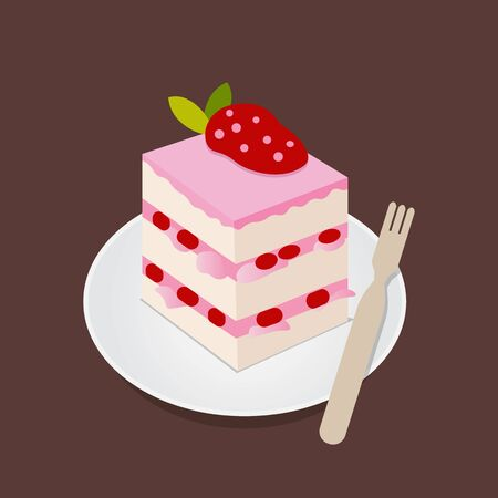Strawberry cake with fresh fruit toping flat design vector.
