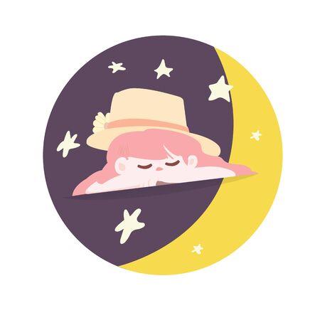 Cute girl cartoon sleep in circle with moon and star vector illustration.Illustration cute girl cartoon logo Ilustracja