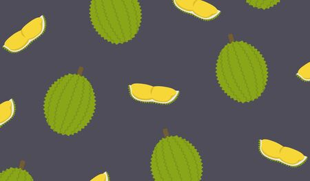 Durian and cut piece pattern background vector. King of fruit design pattern. Tropical fruit flat style. Ilustrace