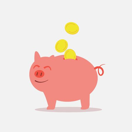 Piggy bank save money feeling happy. Happy pig save coins.
