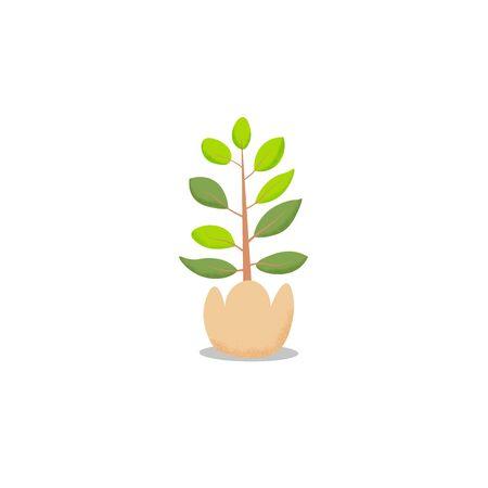 green plant pot in flat design. Tree pot vector white background Ilustracja