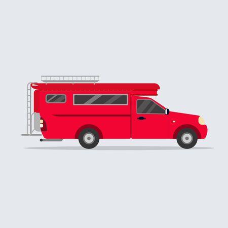 Thai red minibus flat design. Red Thailand van vector. Traditional Thai car