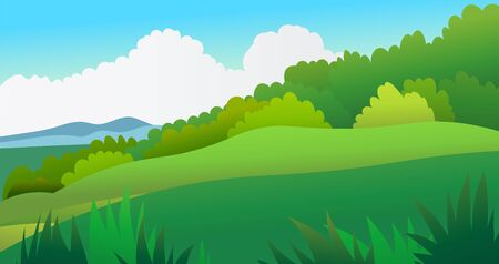 nature landscape scene with sky background vector illustration. Beautiful meadow nature scene. Hill with tropical forest.