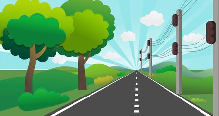 Road with nature landscape in perspective.Country road with lamppost, hills and sky shining background vector.