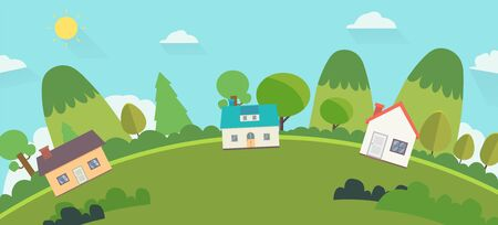 Beautiful nature landscape with houses and hills background. Home with Green Hills and blue sky. World view nature landscape with house and sky background