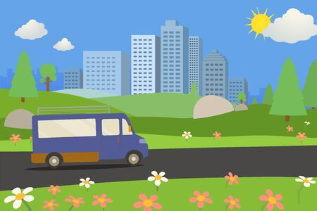 Public park with van on road and city background.nature landscape with road and urban. Cartoon nature landscape view with town and clouds. Beautiful scene park  and car in summer day.