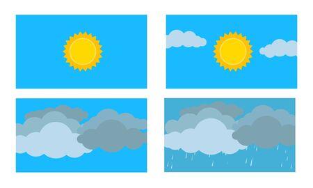 Weather cartoon flat design vector. Season scene in sky. Sunny ,cloudy, windy and rainy weather. Иллюстрация