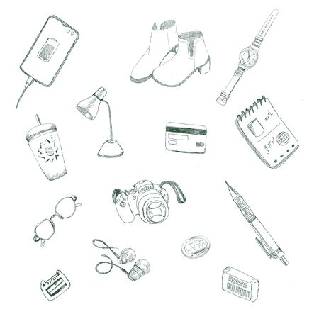 Art drawing object on white background. Sketch object graphic element. Outline equipments drawing illustration Stock fotó