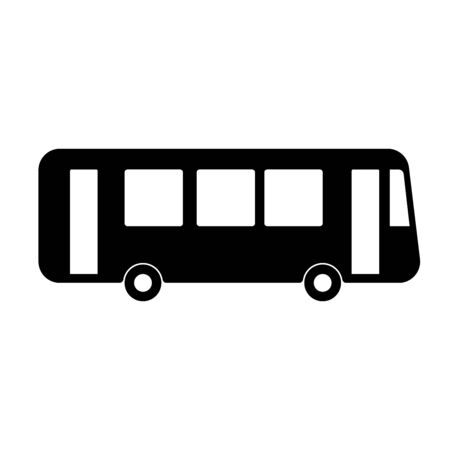 Silhouette bus sign on white background