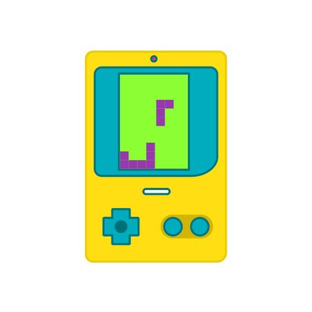 Vintage portable video game with game vector illustration.video game flat design Ilustracja