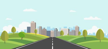 Hills landscape with cityscape on background vector illustration.Public park and town with sky background.Beautiful nature scene with road to city. Ilustracja
