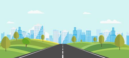 Public park with main street to city and sky background.Beautiful nature scene with town and hill.Vector illustration.Road with urban.cityscape and nature scene