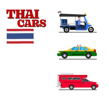 Thai car flat design vector illustration.Thai vehicle sevice. Ilustracja