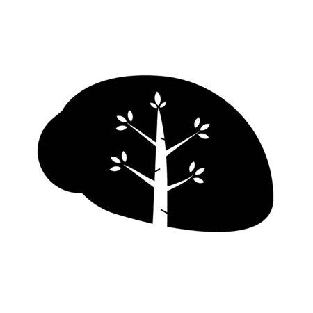 Silhouette brain eco icon vector concept. Nature thinking sign design.Tree in brain on symbol Ilustracja