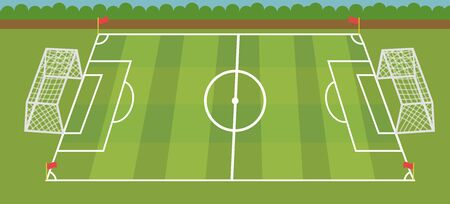 Football  field with croos grass vector illustrate.Soccer stadium with nature landscape.Sport scene.