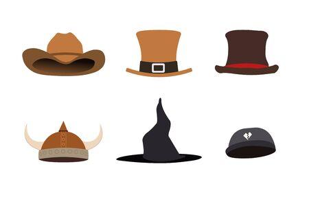 Fantasy hats set vector illustration.Fashion flat hat design.Classic accessory clothes.