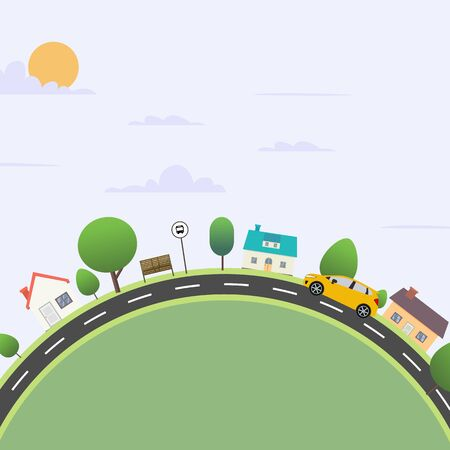 Urban city scene with nature landscape vector illustration.Nature scene with road and sky background.Flat town with car travel Ilustracja