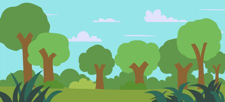Cartoon forest vector illustration.nature landscape with blue sky.Meadow view with forest.Green Field with trees and grass