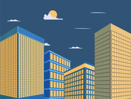Mordern building design vector illustration.Tower with sky background.Downtown in night scene.Perspective buiding city Ilustracja