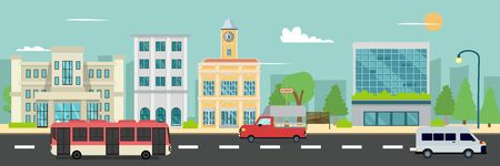 City street and company buildings , minibus and van on street vector illustration, a flat style design.Business buildings and public bus stop in urban. Ilustracja