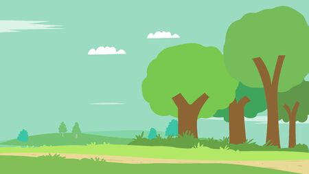 Cartoon scene nature with sky background.Flat nature landscape with meadow.Vector illustration Ilustracja