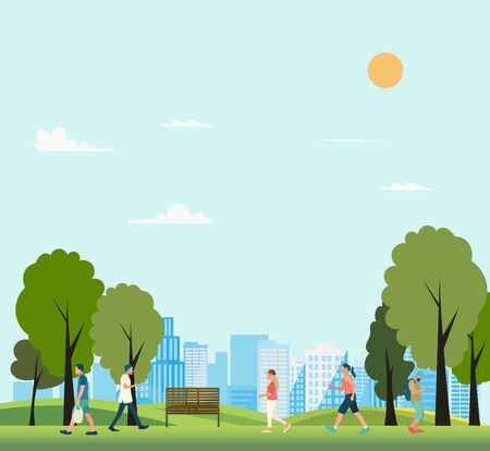 People in public park with city background vector illustration.Nature park with people walking in summer.Lifestyle in nature scene Ilustracja