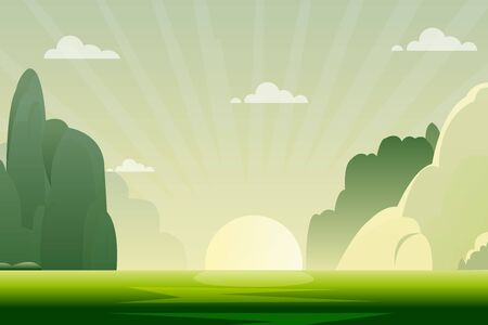 morning nature landscape with sunrise vector illustration.Green nature scene with hills and sky background