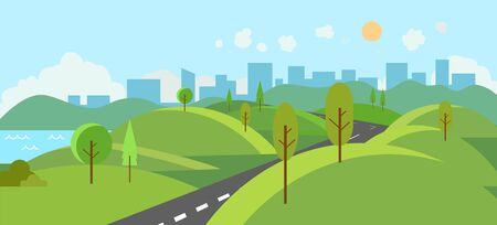 Public park with river and road to city.Vector illustration.Cartoon nature scene with hills and trees.Nature landscape with urban with sky background