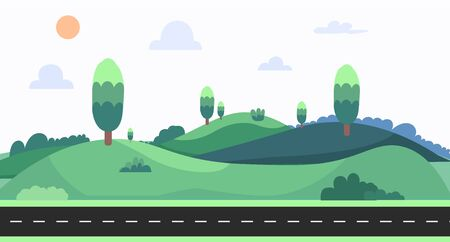 Nature landscape with sky background vector illustration.Cartoon nature scene with street.Meadown with hills in summer.nature landscape with road on summer day