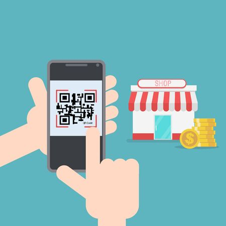 Online shopping payment with qr code flat design vector illustration.E-commerce business concept. Ilustracja