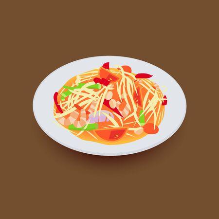 Pikantna sałatka z zielonej papai.Som tum tradycyjne tajskie jedzenie.Ilustracja wektorowa Ilustracje wektorowe