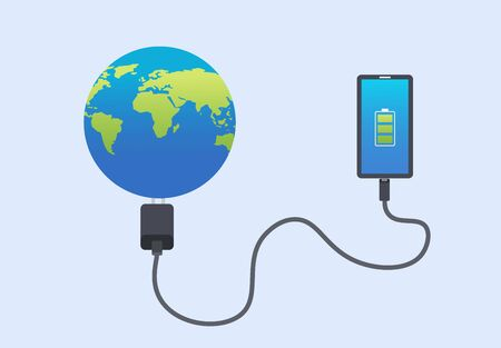 Smartphone  connect charge world.Technology connect global concept.Vector illustration