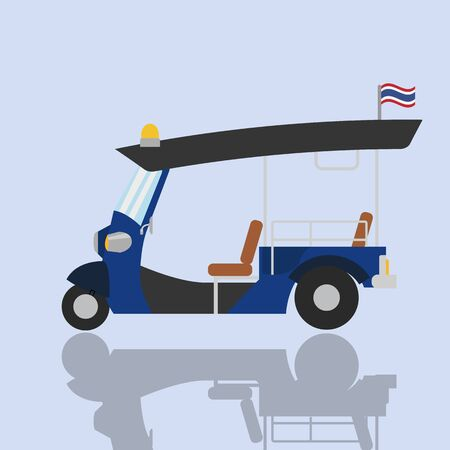 Tuk-tuk thailand transport service car vector illustration.Flat traditional car Thailand.Vintage vehicle with Thai flag