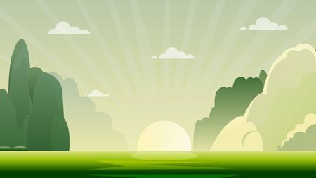 morning nature landscape with sunrise.Green nature scene with hills and sky background Zdjęcie Seryjne
