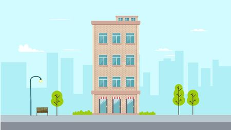Flat apartment design with town background.Building in flat style with city background.Vector illustration.Modern buiding on street