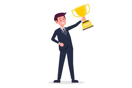 Businessman cartoon holding Golden cup with isolated white background vector.Young business man success concept Ilustracja