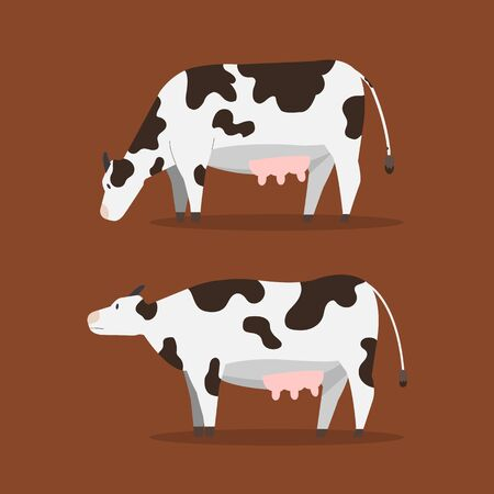 Flat cow vector illustration.Set cute cow with brown background